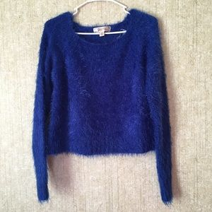 Its a dark blue sweater with fur all over